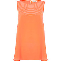 Orange deco mesh insert longline vest