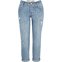 Light wash ripped Lexie slim boyfriend jeans