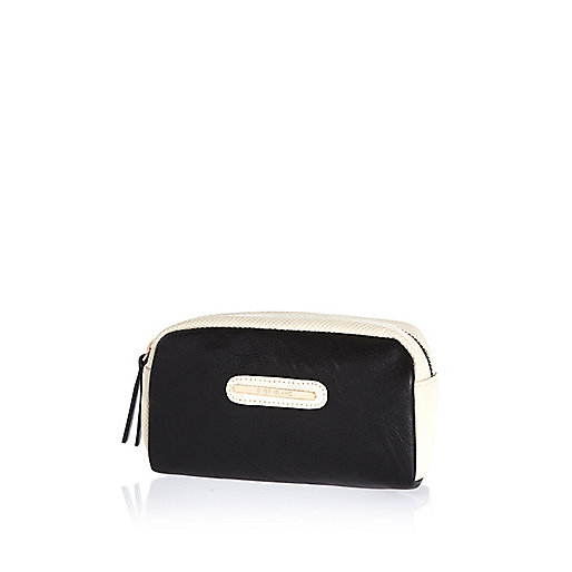 Black double zip make up bag