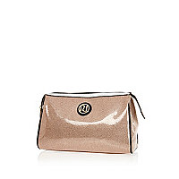 Pink glittery make up bag