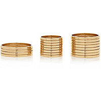 Gold tone finger top and thumb ring pack