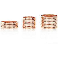 Rose gold tone finger top and thumb ring pack