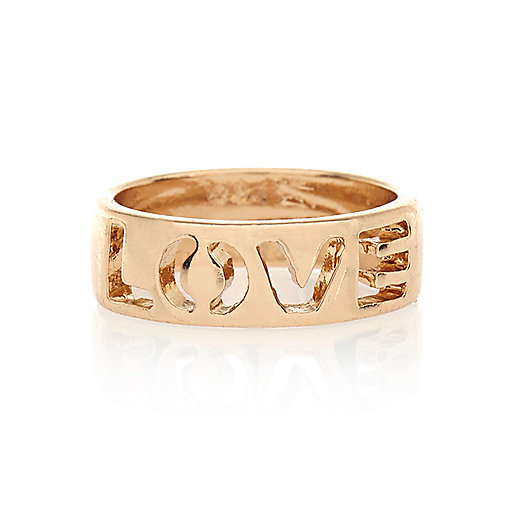 Gold tone love cut out midi ring