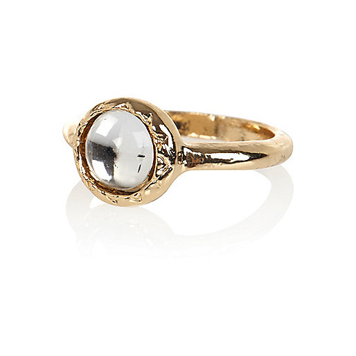 Gold tone glass stone midi ring