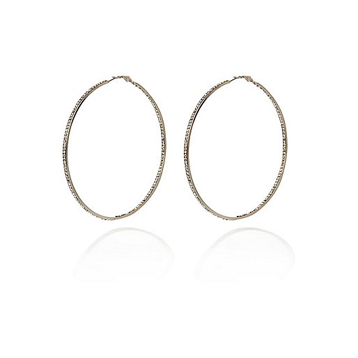 Silver tone diamante thin hoop earrings