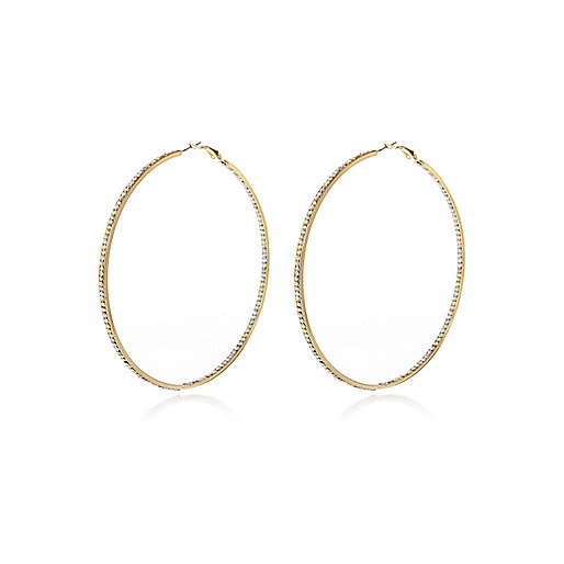 Gold tone diamante thin hoop earrings