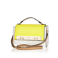 Yellow colour block double lock satchel