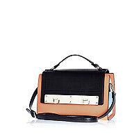 Coral colour block double lock satchel