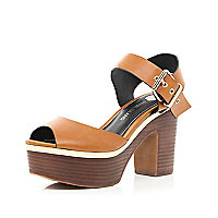 Tan peep toe platform sandals