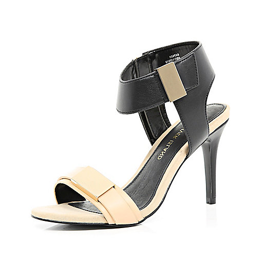 Black two-tone metal trim sandals
