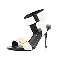 White two-tone metal trim sandals