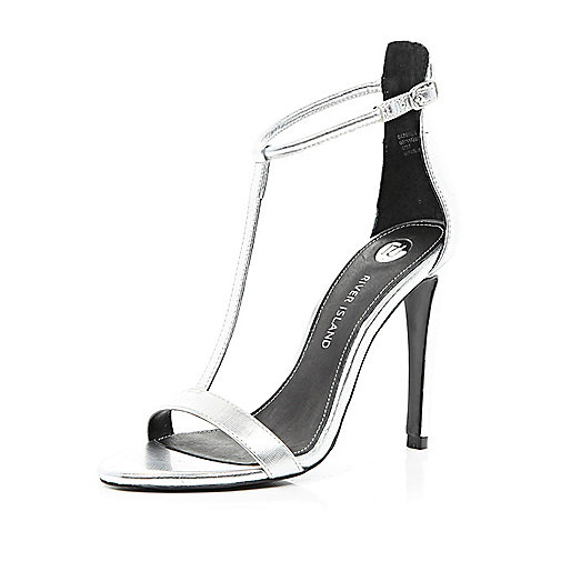 Silver T bar barely there stiletto sandals
