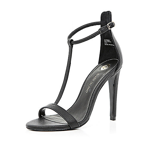 Black T bar barely there stiletto sandals