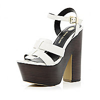Cream ankle strap platform sandals