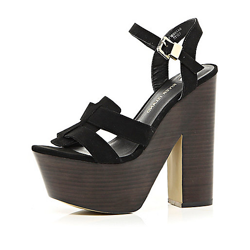 Black ankle strap platform sandals