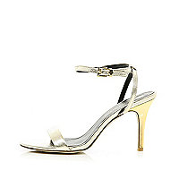 Gold barely there mid heel sandals
