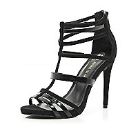 Black caged stiletto sandals