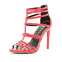 Bright pink caged stiletto sandals