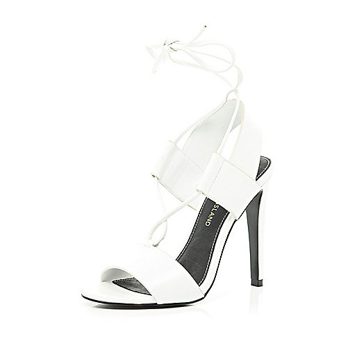 White strappy tie up stiletto sandals