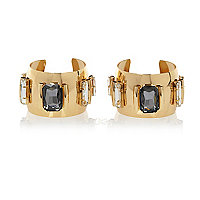 Gold tone gem stone cuffs pack
