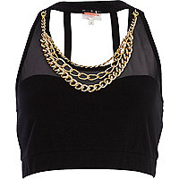 Black Pacha curb chain trim crop top
