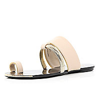 Pink slinky bracelet trim toe loop sandals