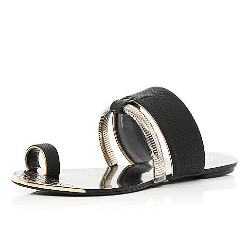 Black slinky bracelet trim toe loop sandals