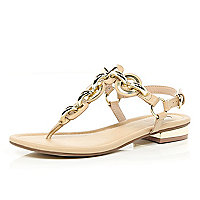 Beige chain T bar sandals