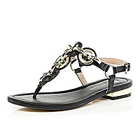Black chain T bar sandals