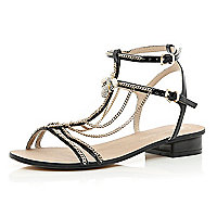 Black block heel chain trim sandals