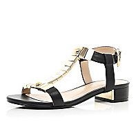 Black metal trim T bar sandals