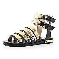 Black metal bar strap gladiator sandals