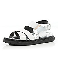 Silver metallic chunky sole sandals