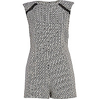 Black and white jacquard playsuit