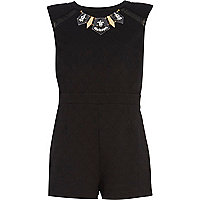Black jacquard necklace playsuit