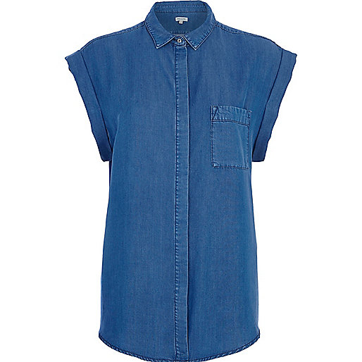 Mid wash roll sleeve denim shirt