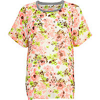 Light pink floral embellished chiffon t-shirt