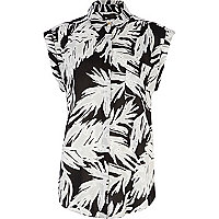 Black and white Hawaiian print shirt