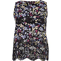 Black floral lace insert shell top