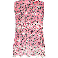 Pink abstract print cut out shell top
