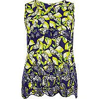 Blue lemon print lace insert shell top