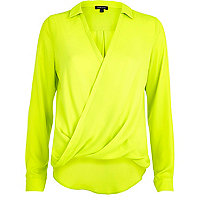 Lime long sleeve wrap shirt
