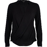 Black long sleeve wrap shirt