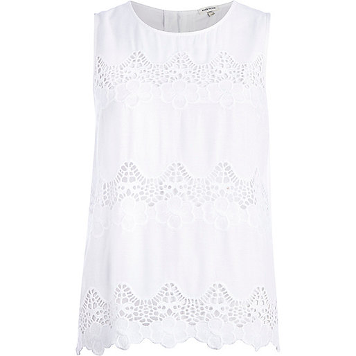 White lace insert shell top
