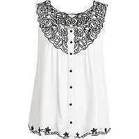 Cream embroidered button through swing top