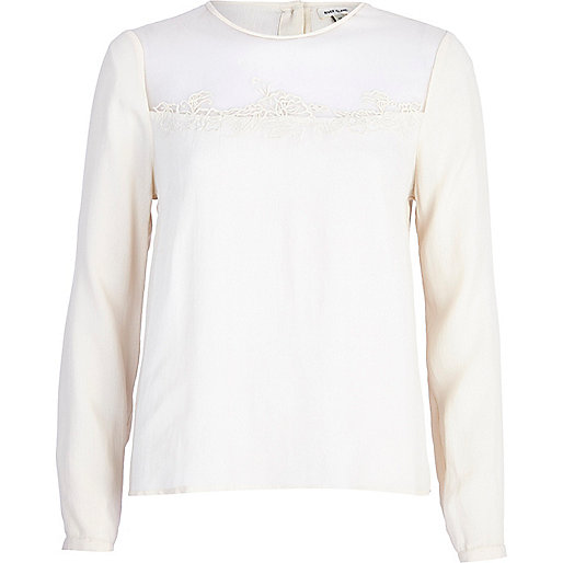 Cream sheer yoke victoriana blouse