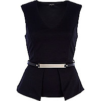 Black textured belted peplum top