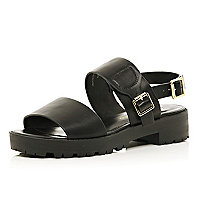 Black cleated sole chunky strap sandals