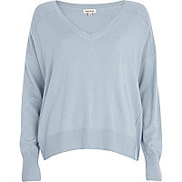 Light blue elbow patch oversized jumper