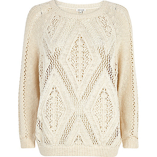 Cream geometric stitch slouchy jumper